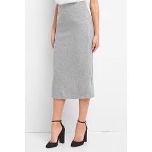 NWT GAP Women's Grey Ribbed Midi Pencil Skirt